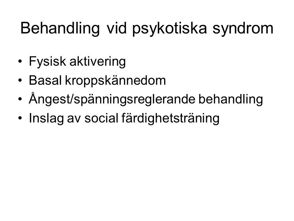 Behandling vid psykotiska syndrom Fysisk aktivering Basal kroppskännedom Ångest/spänningsreglerande behandling Inslag av social färdighetsträning