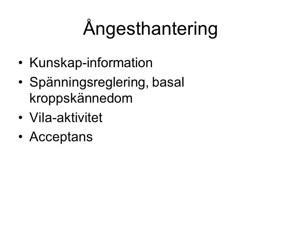 Ångesthantering Kunskap-information Spänningsreglering, basal kroppskännedom Vila-aktivitet Acceptans