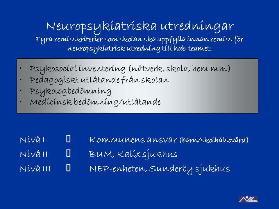 Neuropsykiatriska utredningar Fyra remisskriterier som skolan ska uppfylla innan remiss för neuropsykiatrisk utredning till hab-teamet: Nivå I  Kommunens ansvar (barn/skolhälsovård) Nivå II  BUM, Kalix sjukhus Nivå III  NEP-enheten, Sunderby sjukhus Psykosocial inventering (nätverk, skola, hem mm) Pedagogiskt utlåtande från skolan Psykologbedömning Medicinsk bedömning/utlåtande