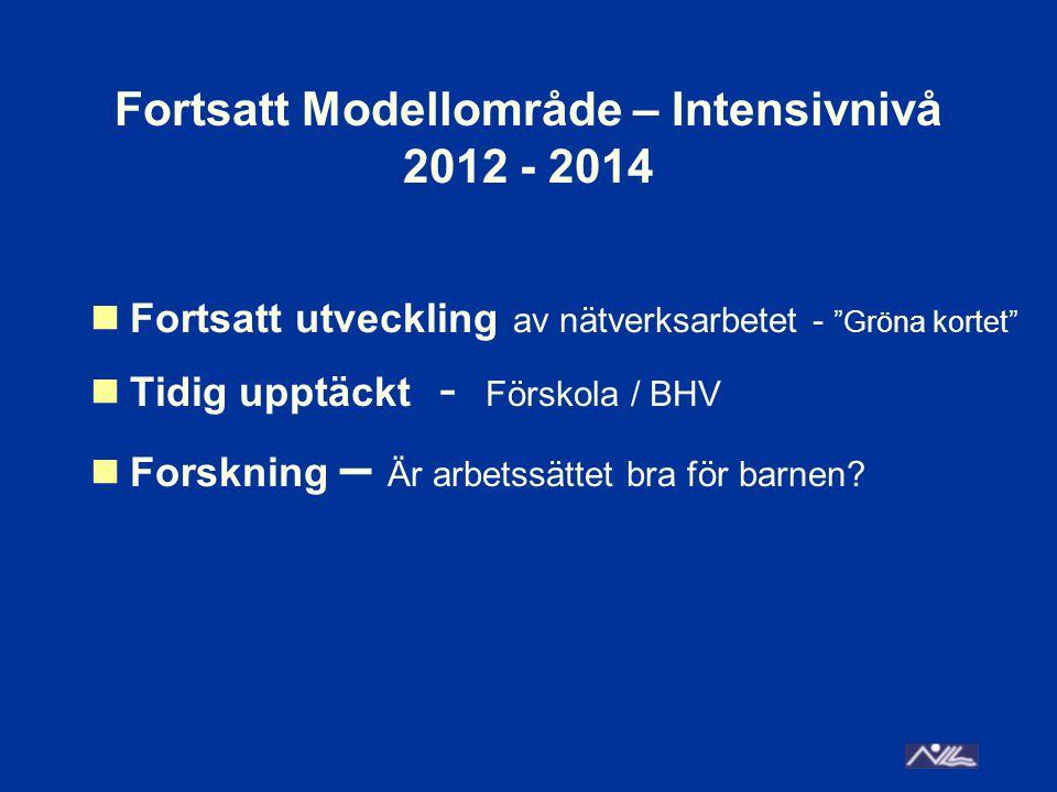 """Fortsatt Modellområde – Intensivnivå 2012 - 2014 Fortsatt utveckling av nätverksarbetet - """"Gröna kortet"""" Tidig upptäckt - Förskola / BHV Forskning – Ä"""
