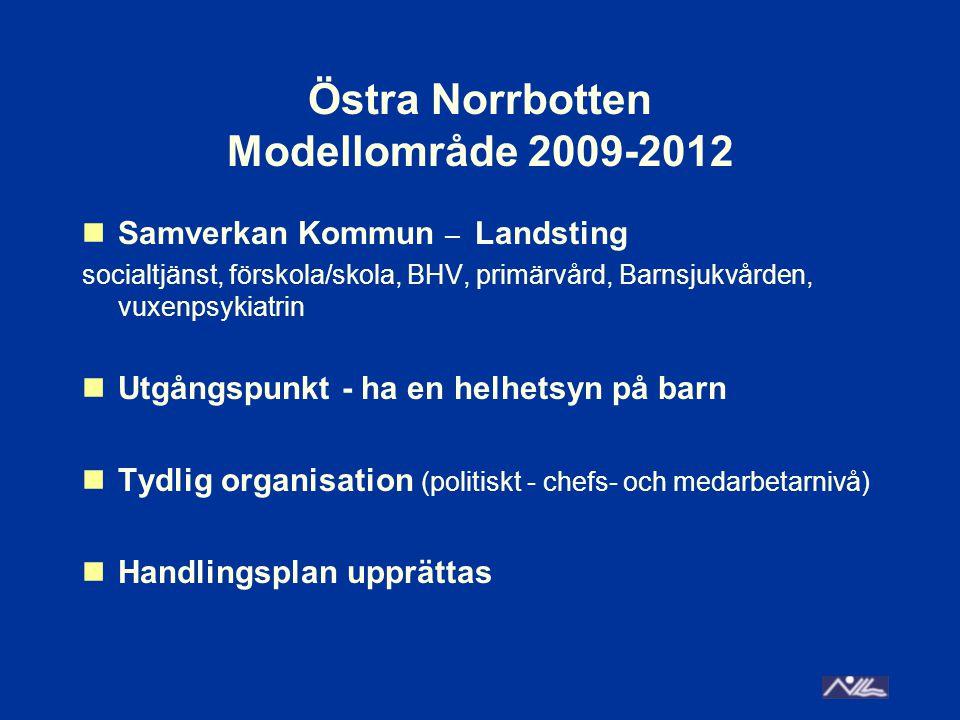 Östra Norrbotten Modellområde 2009-2012 Samverkan Kommun – Landsting socialtjänst, förskola/skola, BHV, primärvård, Barnsjukvården, vuxenpsykiatrin Ut