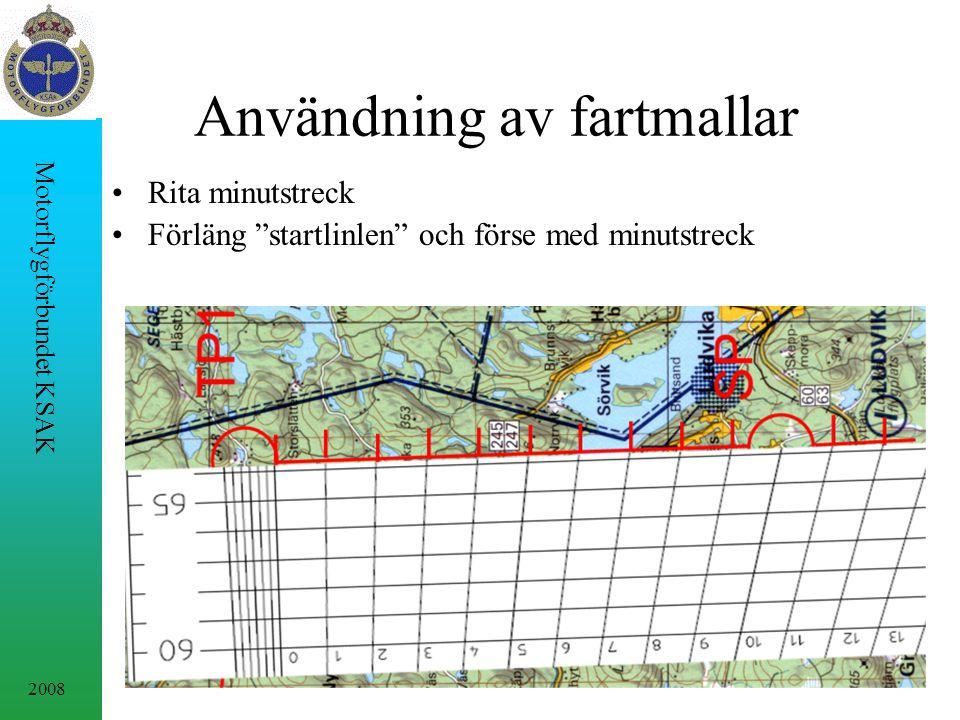 2008 Motorflygförbundet KSAK Användning av fartmallar Rita minutstreck Förläng startlinlen och förse med minutstreck