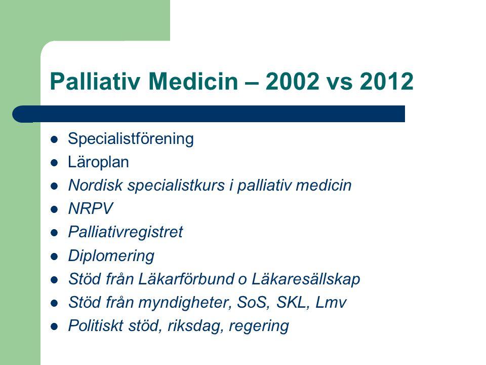 Palliativ Medicin – 2002 vs 2012 Specialistförening Läroplan Nordisk specialistkurs i palliativ medicin NRPV Palliativregistret Diplomering Stöd från
