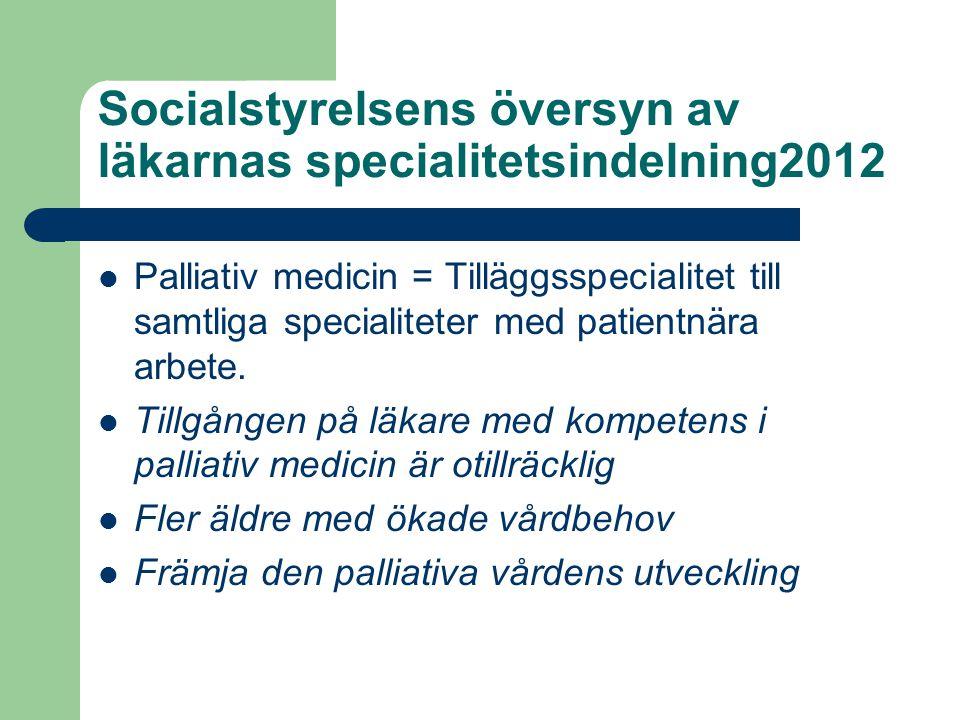 Socialstyrelsens översyn av läkarnas specialitetsindelning2012 Palliativ medicin = Tilläggsspecialitet till samtliga specialiteter med patientnära arb