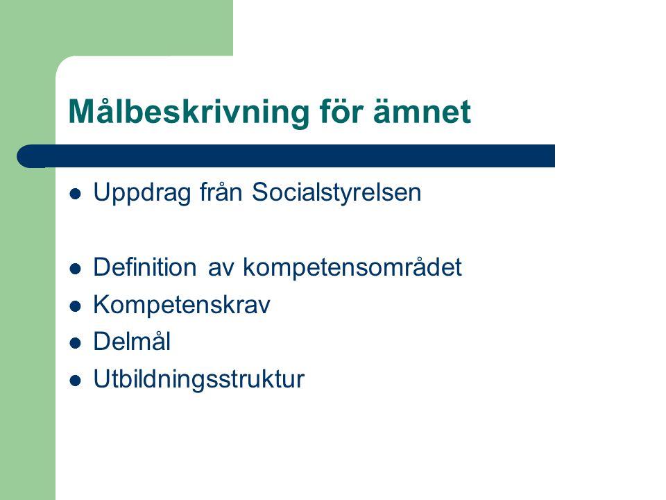 Målbeskrivning för ämnet Uppdrag från Socialstyrelsen Definition av kompetensområdet Kompetenskrav Delmål Utbildningsstruktur