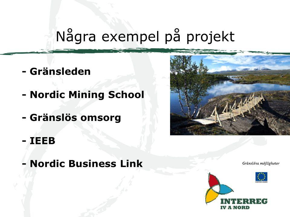 Några exempel på projekt Gränslösa möjligheter - Gränsleden - Nordic Mining School - Gränslös omsorg - IEEB - Nordic Business Link