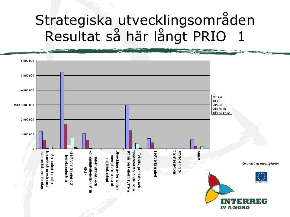 Strategiska utvecklingsområden Resultat så här långt PRIO 1 Gränslösa möjligheter