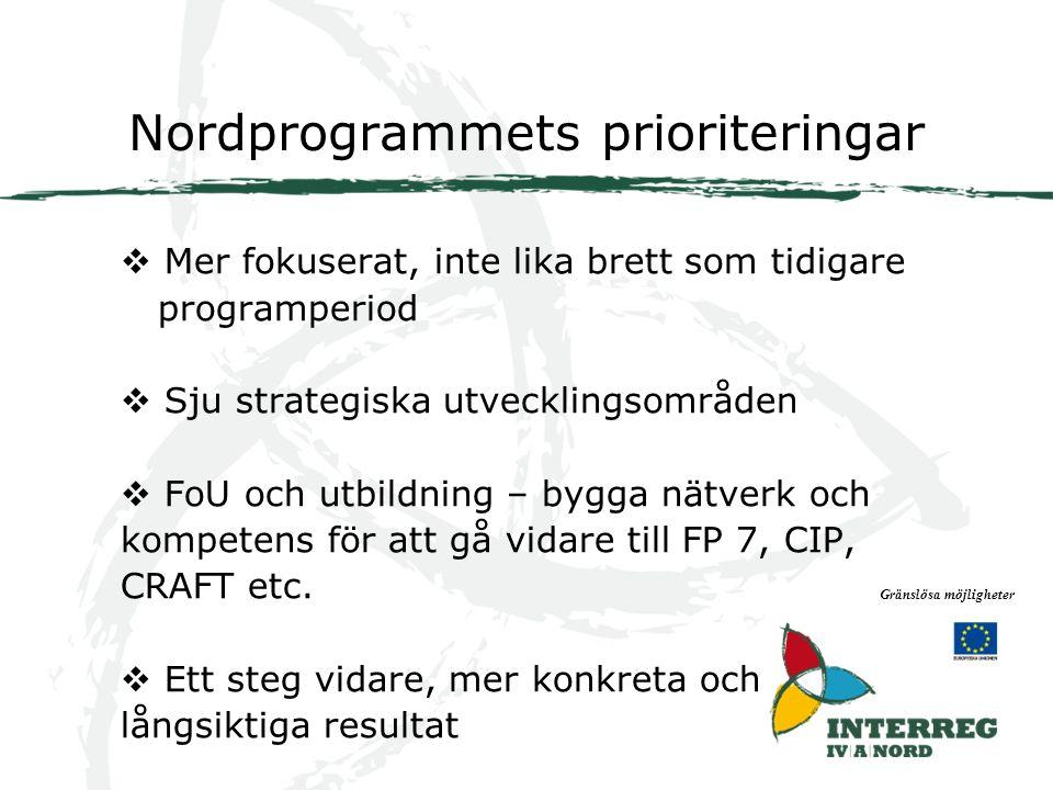 Nordprogrammets prioriteringar Gränslösa möjligheter  Mer fokuserat, inte lika brett som tidigare programperiod  Sju strategiska utvecklingsområden  FoU och utbildning – bygga nätverk och kompetens för att gå vidare till FP 7, CIP, CRAFT etc.