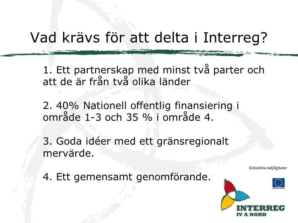 Vad krävs för att delta i Interreg. Gränslösa möjligheter 1.