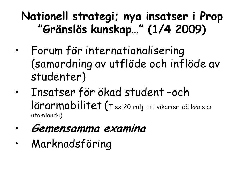 Nationell strategi; nya insatser i Prop Gränslös kunskap… (1/4 2009) Forum för internationalisering (samordning av utflöde och inflöde av studenter) Insatser för ökad student –och lärarmobilitet ( T ex 20 milj till vikarier då läare är utomlands) Gemensamma examina Marknadsföring