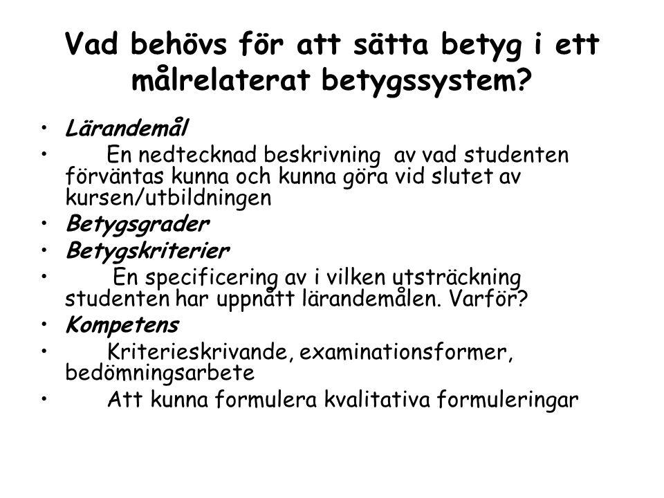 Vad behövs för att sätta betyg i ett målrelaterat betygssystem? Lärandemål En nedtecknad beskrivning av vad studenten förväntas kunna och kunna göra v