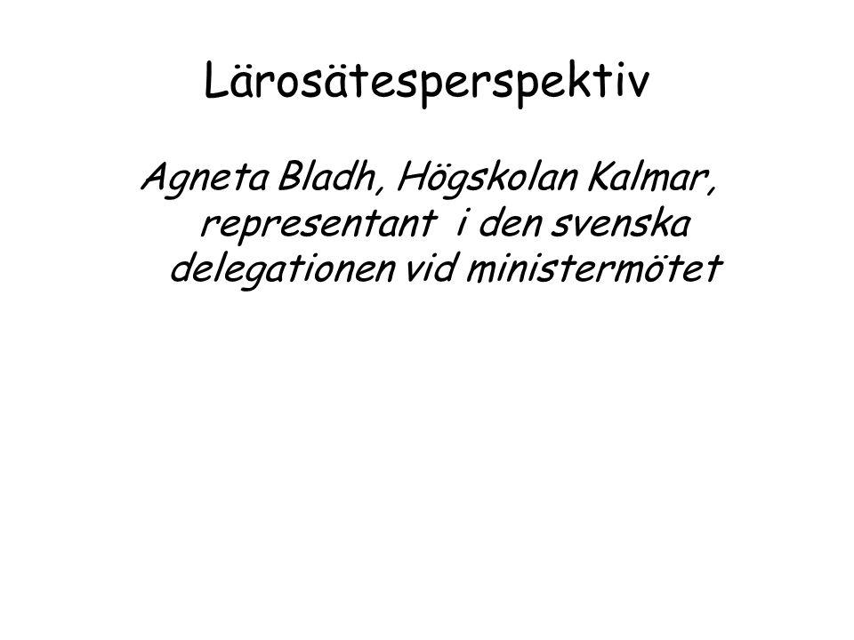 Lärosätesperspektiv Agneta Bladh, Högskolan Kalmar, representant i den svenska delegationen vid ministermötet