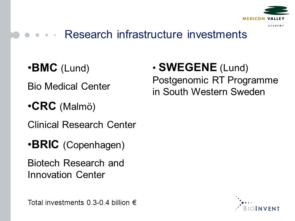BMC (Lund) Bio Medical Center CRC (Malmö) Clinical Research Center BRIC (Copenhagen) Biotech Research and Innovation Center Total investments 0.3-0.4 billion € SWEGENE (Lund) Postgenomic RT Programme in South Western Sweden Research infrastructure investments