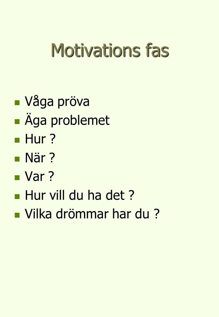 Motivations fas Våga pröva Våga pröva Äga problemet Äga problemet Hur ? Hur ? När ? När ? Var ? Var ? Hur vill du ha det ? Hur vill du ha det ? Vilka