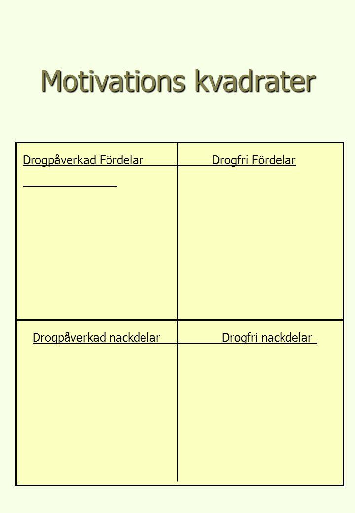 Motivations kvadrater Drogpåverkad Fördelar Drogfri Fördelar Drogpåverkad nackdelarDrogfri nackdelar