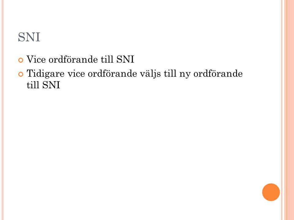 SNI Vice ordförande till SNI Tidigare vice ordförande väljs till ny ordförande till SNI
