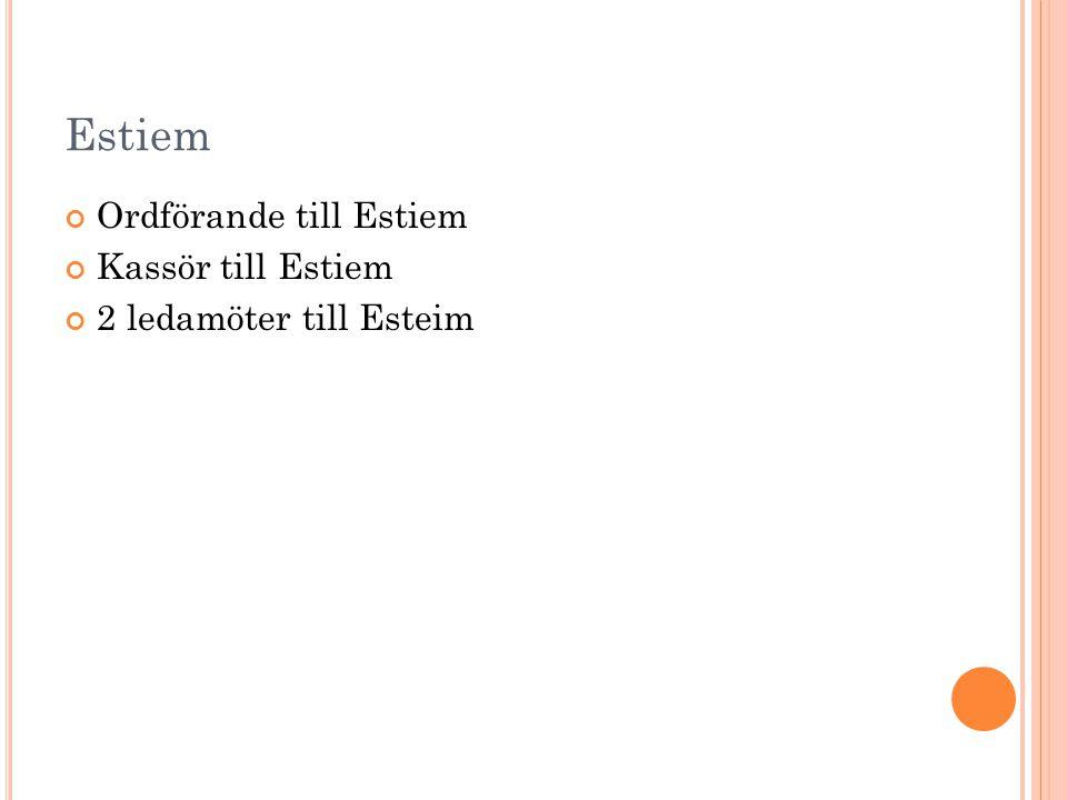 Estiem Ordförande till Estiem Kassör till Estiem 2 ledamöter till Esteim