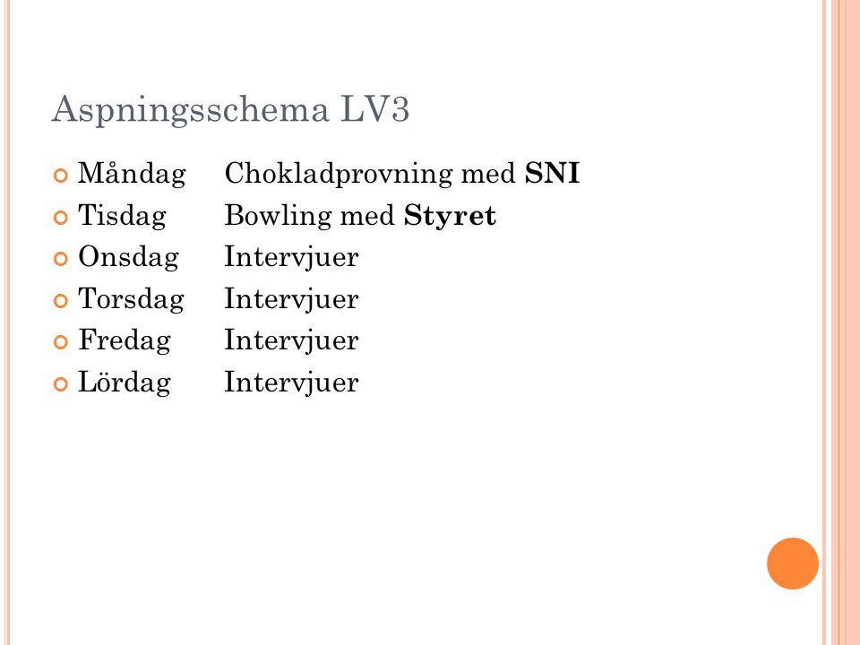 Aspningsschema LV3 MåndagChokladprovning med SNI TisdagBowling med Styret OnsdagIntervjuer TorsdagIntervjuer FredagIntervjuer LördagIntervjuer