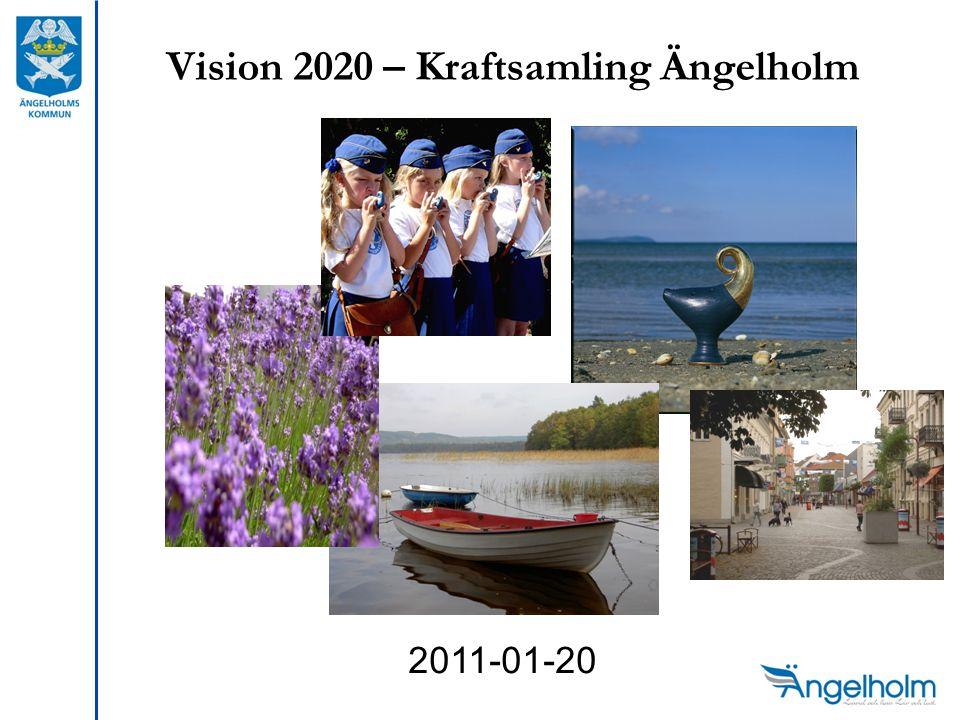 Vision 2020 – Kraftsamling Ängelholm Samverkan mellan näringslivet, kommunen, Regionen, statliga organisationer, föreningar, tätorter och andra aktörer Kraftsamling för ökad tillväxt Summan av vad vi skapar tillsammans är större än om vi gör det en och en!