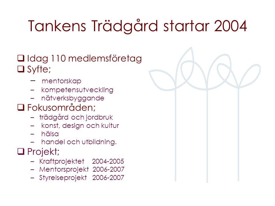 Tankens Trädgård startar 2004  Idag 110 medlemsföretag  Syfte; – mentorskap – kompetensutveckling – nätverksbyggande  Fokusområden; –trädgård och jordbruk – konst, design och kultur – hälsa – handel och utbildning.