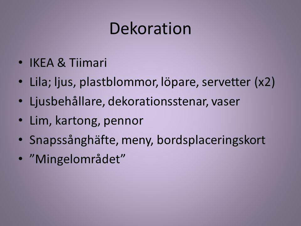 Dekoration IKEA & Tiimari Lila; ljus, plastblommor, löpare, servetter (x2) Ljusbehållare, dekorationsstenar, vaser Lim, kartong, pennor Snapssånghäfte, meny, bordsplaceringskort Mingelområdet