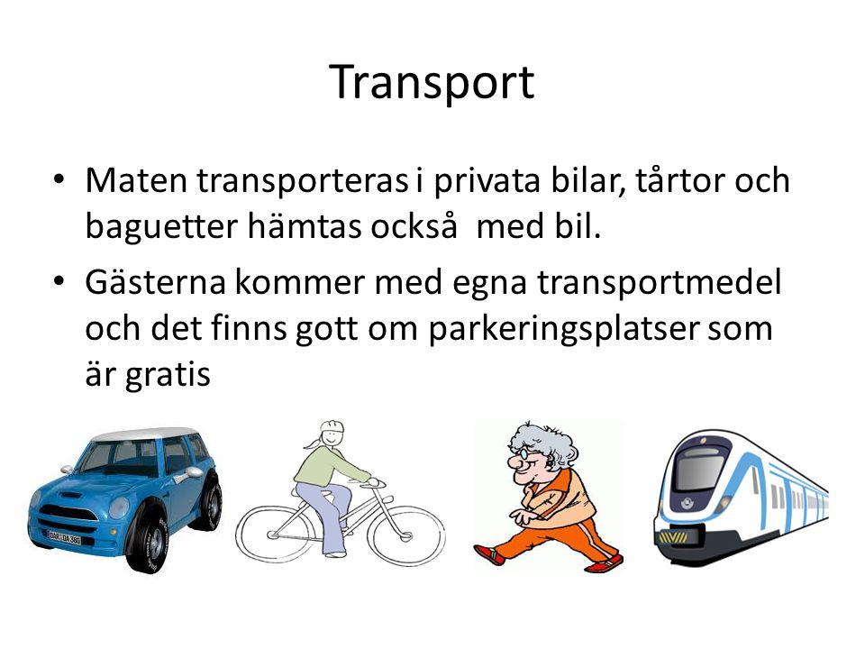 Transport Maten transporteras i privata bilar, tårtor och baguetter hämtas också med bil. Gästerna kommer med egna transportmedel och det finns gott o