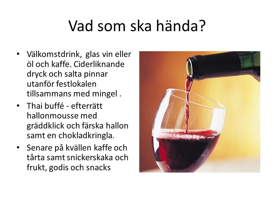 Vad som ska hända.Välkomstdrink, glas vin eller öl och kaffe.