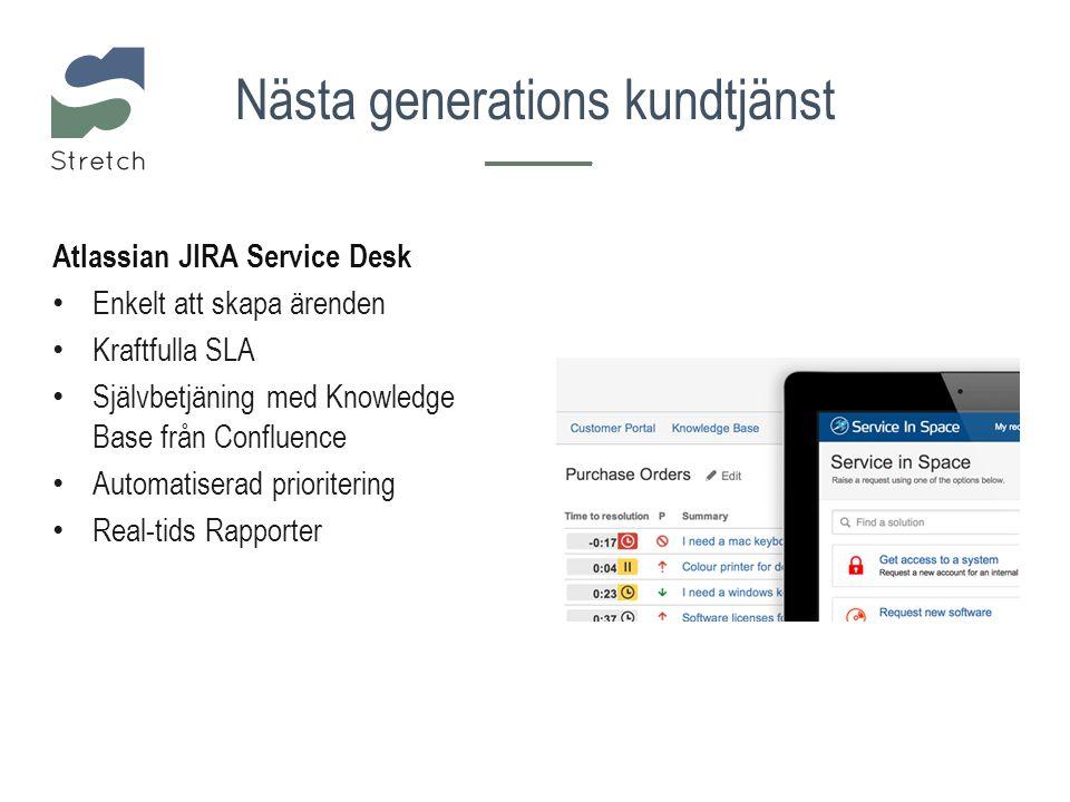 Atlassian JIRA Service Desk Enkelt att skapa ärenden Kraftfulla SLA Självbetjäning med Knowledge Base från Confluence Automatiserad prioritering Real-