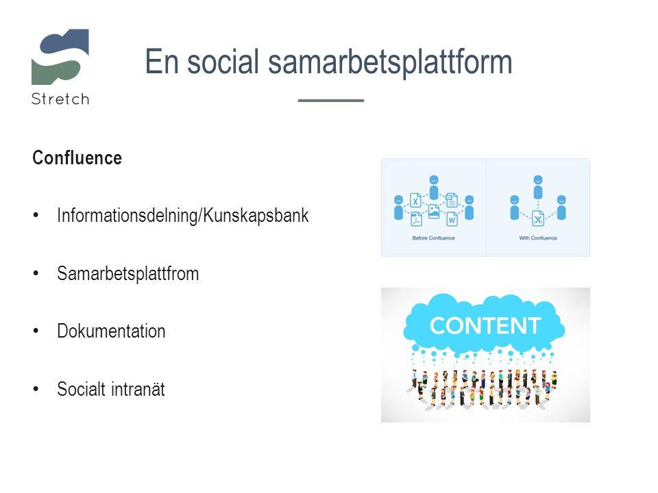 Confluence Informationsdelning/Kunskapsbank Samarbetsplattfrom Dokumentation Socialt intranät En social samarbetsplattform