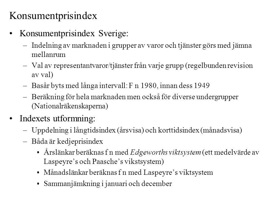 Konsumentprisindex Konsumentprisindex Sverige: –Indelning av marknaden i grupper av varor och tjänster görs med jämna mellanrum –Val av representantva