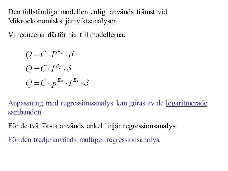 Den fullständiga modellen enligt används främst vid Mikroekonomiska jämviktsanalyser. Vi reducerar därför här till modellerna: Anpassning med regressi