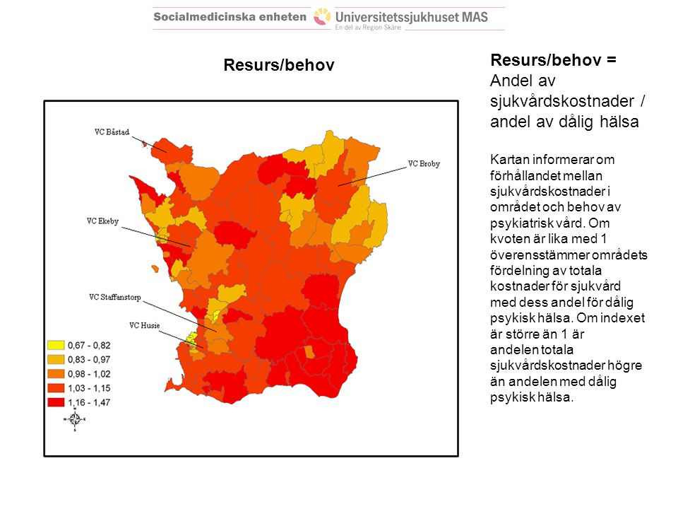 Resurs/behov = Andel av sjukvårdskostnader / andel av dålig hälsa Kartan informerar om förhållandet mellan sjukvårdskostnader i området och behov av psykiatrisk vård.