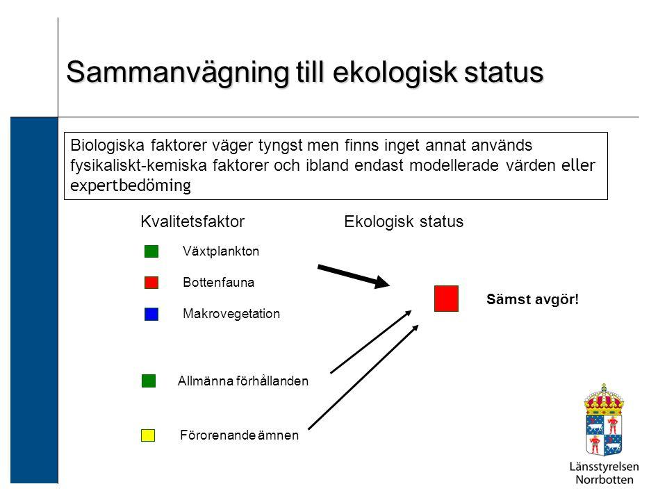 Sammanvägning till ekologisk status Biologiska faktorer väger tyngst men finns inget annat används fysikaliskt-kemiska faktorer och ibland endast mode