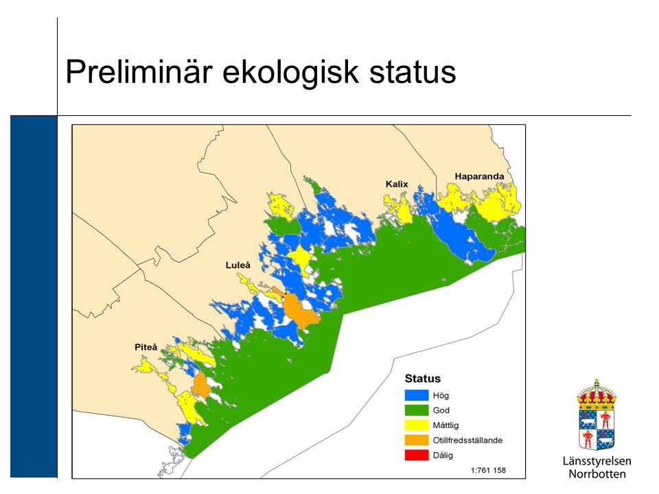 Preliminär ekologisk status i siffror 17 vattenförekomster under god status: 15 st måttliga och 2 st otillfredsställande 2 st vfk måttlig status för växtplankton 2 st vfk måttlig status för HOME Vatten 14 st vfk måttlig status för förorenande ämnen (9 st med data) 2 st vfk måttlig och 2 st otillfredsställande status för bottenfauna Miljöproblem: 9 st övergödning, 14 st miljögifter