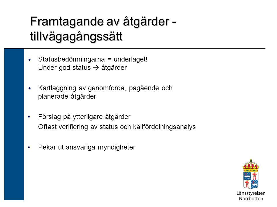 Statusbedömningarna = underlaget! Under god status  åtgärder Kartläggning av genomförda, pågående och planerade åtgärder Förslag på ytterligare åtgär