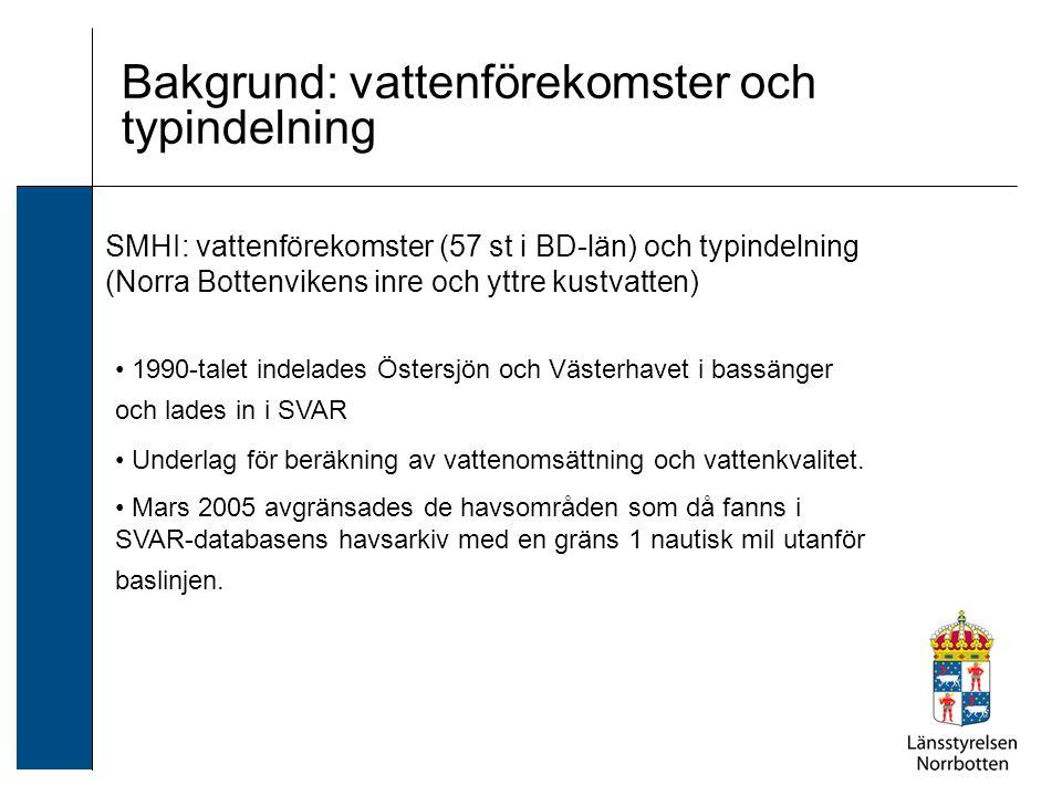 SMHI: vattenförekomster (57 st i BD-län) och typindelning (Norra Bottenvikens inre och yttre kustvatten) Bakgrund: vattenförekomster och typindelning