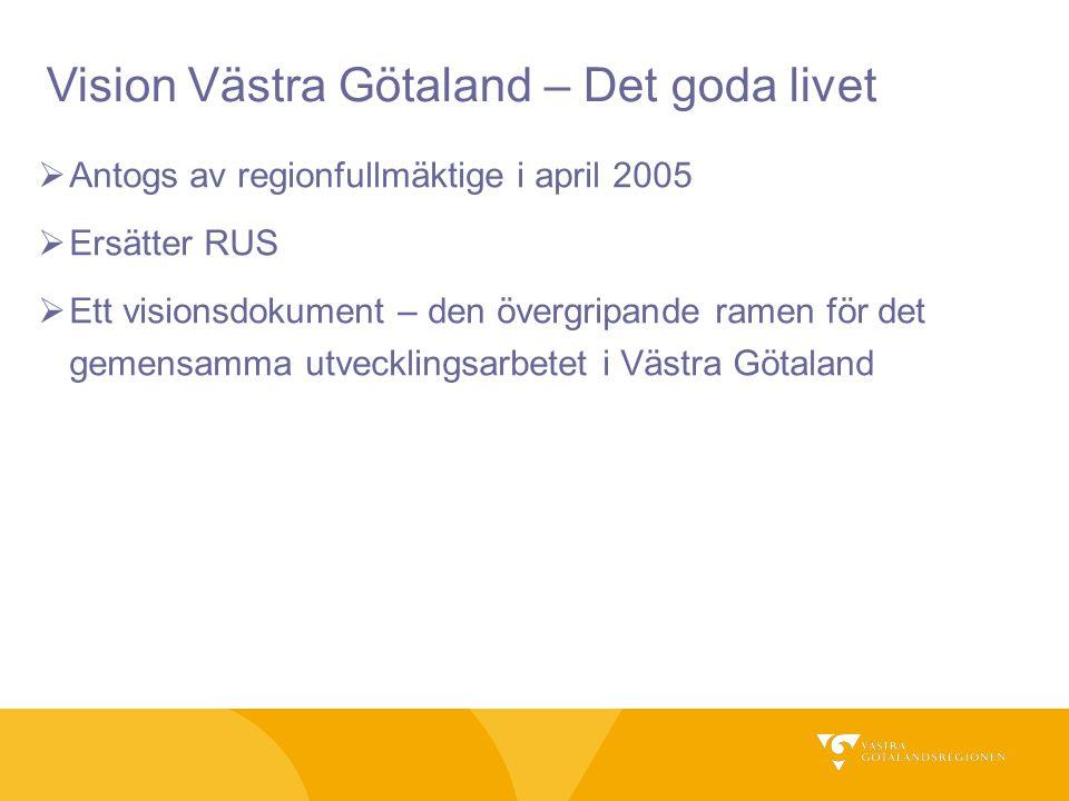  Antogs av regionfullmäktige i april 2005  Ersätter RUS  Ett visionsdokument – den övergripande ramen för det gemensamma utvecklingsarbetet i Västr
