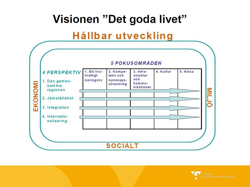  Antogs av regionfullmäktige i april 2005  Ersätter RUS  Ett visionsdokument – den övergripande ramen för det gemensamma utvecklingsarbetet i Västra Götaland Vision Västra Götaland – Det goda livet  Genomförandemodellen - mål, strategi och åtgärder – beslutas av den aktör som har ansvaret för området  Uppföljning och utvärdering – dels via den aktör som har ansvaret, dels via en oberoende uppföljning/utvärdering av visionen i sin helhet