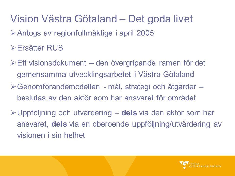 Uppföljning av visionen  Uppföljning av hållbar utveckling  Internationella jämförelser av Västra Götalands konkurrenskraft  Etablera ett index för att mäta utvecklingen inom visionens fem fokusområden  Medborgarundersökningar  Seminarier, Visionskonferens