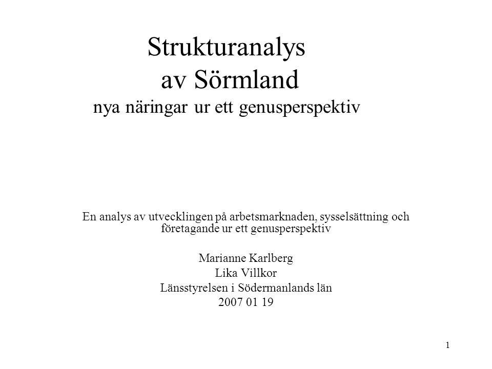 1 Strukturanalys av Sörmland nya näringar ur ett genusperspektiv En analys av utvecklingen på arbetsmarknaden, sysselsättning och företagande ur ett g