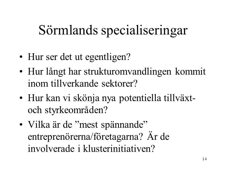 14 Sörmlands specialiseringar Hur ser det ut egentligen? Hur långt har strukturomvandlingen kommit inom tillverkande sektorer? Hur kan vi skönja nya p