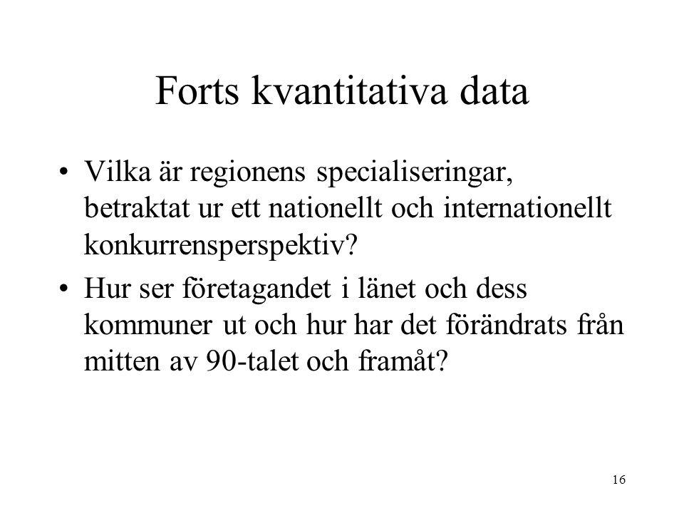 16 Forts kvantitativa data Vilka är regionens specialiseringar, betraktat ur ett nationellt och internationellt konkurrensperspektiv? Hur ser företaga