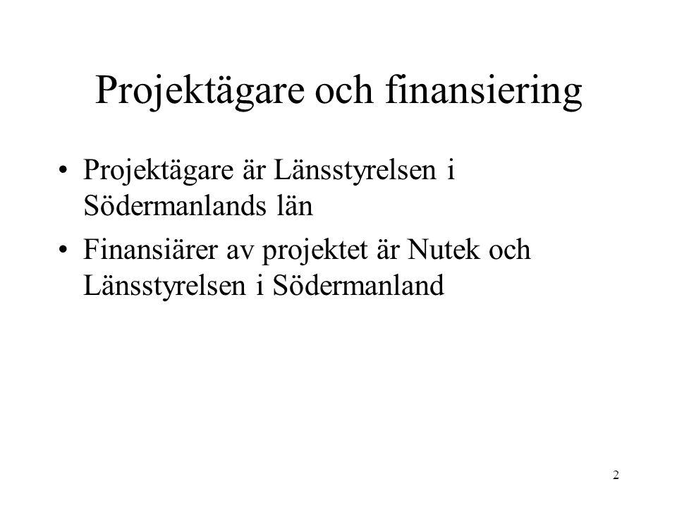 2 Projektägare och finansiering Projektägare är Länsstyrelsen i Södermanlands län Finansiärer av projektet är Nutek och Länsstyrelsen i Södermanland