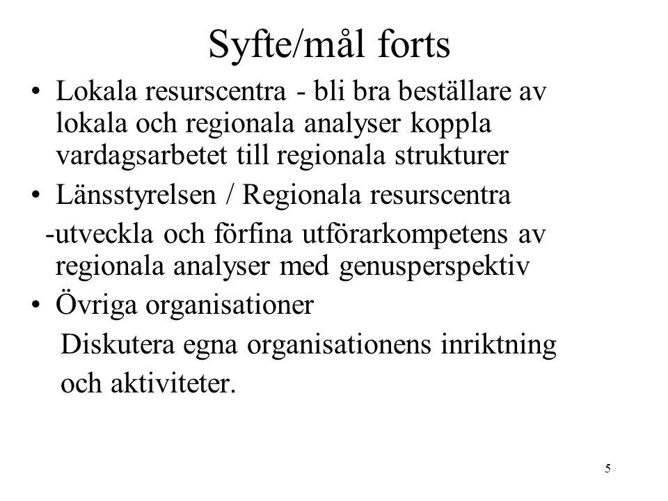 5 Syfte/mål forts Lokala resurscentra - bli bra beställare av lokala och regionala analyser koppla vardagsarbetet till regionala strukturer Länsstyrel