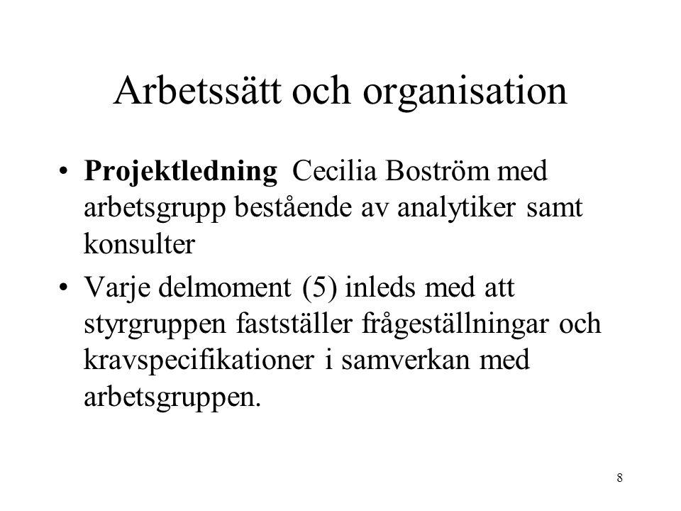 8 Arbetssätt och organisation Projektledning Cecilia Boström med arbetsgrupp bestående av analytiker samt konsulter Varje delmoment (5) inleds med att styrgruppen fastställer frågeställningar och kravspecifikationer i samverkan med arbetsgruppen.