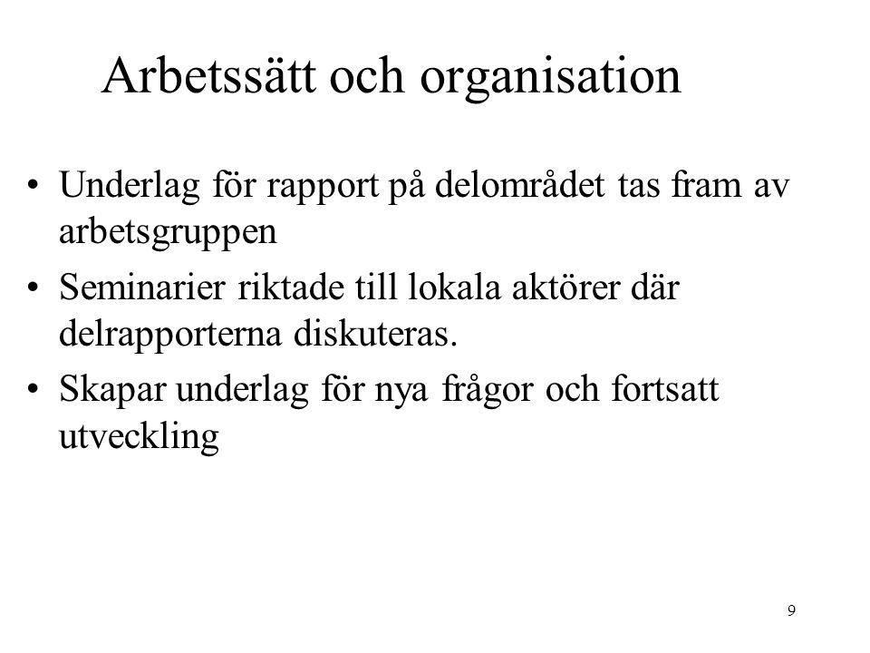9 Arbetssätt och organisation Underlag för rapport på delområdet tas fram av arbetsgruppen Seminarier riktade till lokala aktörer där delrapporterna diskuteras.