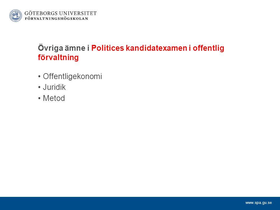 www.spa.gu.se Övriga ämne i Politices kandidatexamen i offentlig förvaltning Offentligekonomi Juridik Metod