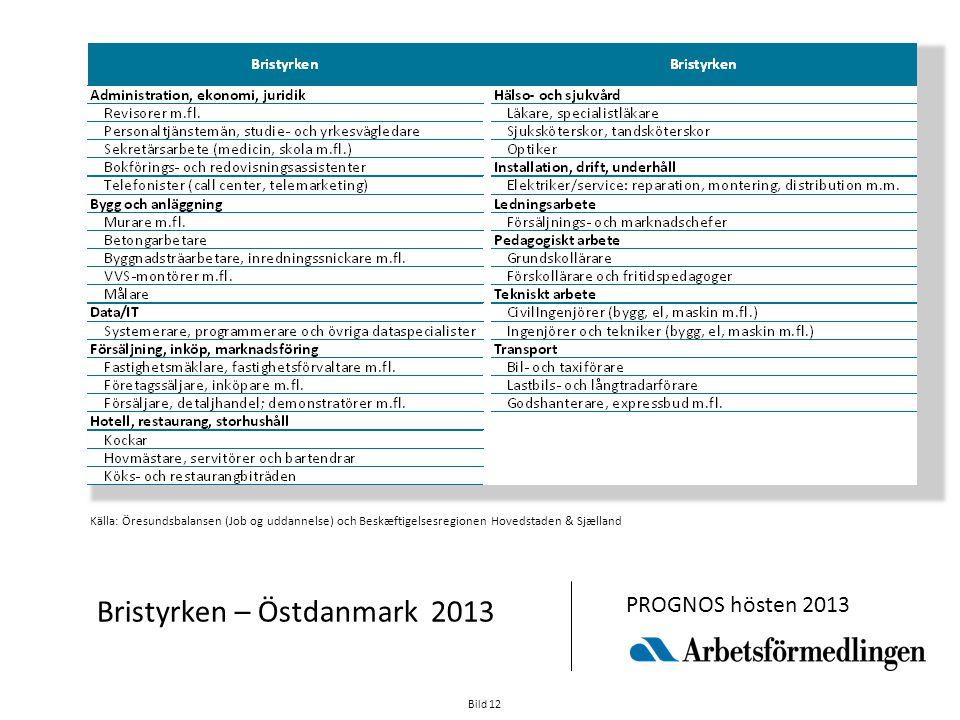 Bild 12 Bristyrken – Östdanmark 2013 PROGNOS hösten 2013 Källa: Öresundsbalansen (Job og uddannelse) och Beskæftigelsesregionen Hovedstaden & Sjælland