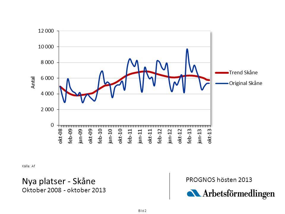 Bild 2 Källa: Af Nya platser - Skåne Oktober 2008 - oktober 2013 PROGNOS hösten 2013