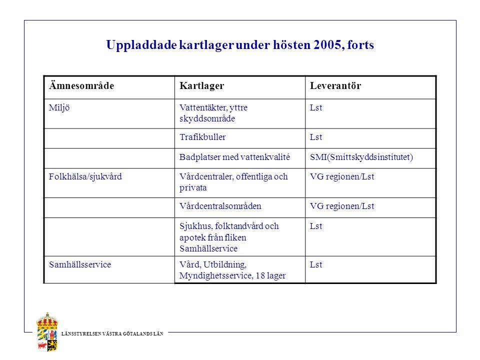 LÄNSSTYRELSEN VÄSTRA GÖTALANDS LÄN Uppladdade kartlager under hösten 2005, forts ÄmnesområdeKartlagerLeverantör MiljöVattentäkter, yttre skyddsområde Lst TrafikbullerLst Badplatser med vattenkvalitéSMI(Smittskyddsinstitutet) Folkhälsa/sjukvårdVårdcentraler, offentliga och privata VG regionen/Lst VårdcentralsområdenVG regionen/Lst Sjukhus, folktandvård och apotek från fliken Samhällservice Lst SamhällsserviceVård, Utbildning, Myndighetsservice, 18 lager Lst